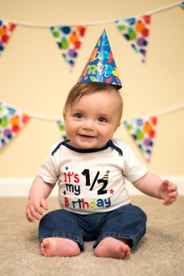 Smiling Happy Baby Boy Half Birthday Party stock photo