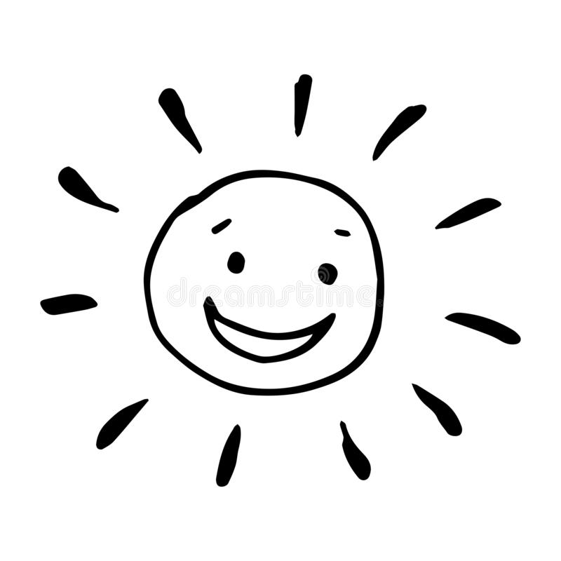 Smiling happy black and white drawing of sun in vector. stock photography