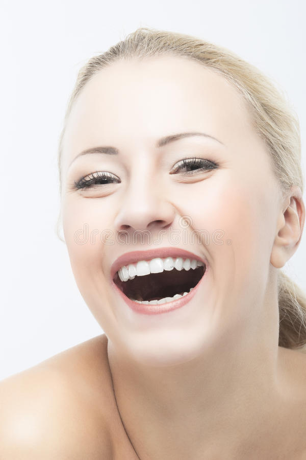 Smiling and Happy Caucasian Woman Beauty Face Closeup Portrait stock image