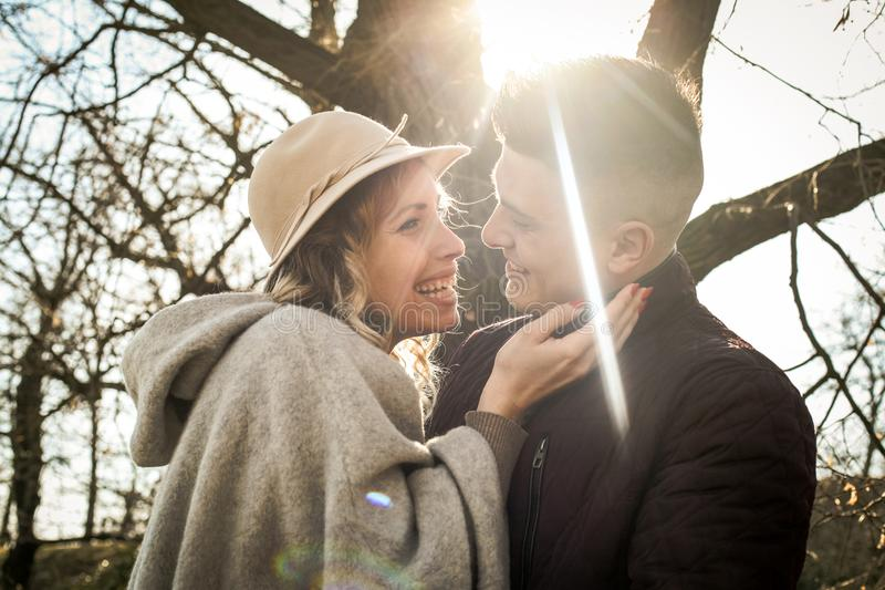 Smiling happy couple in hug. stock images