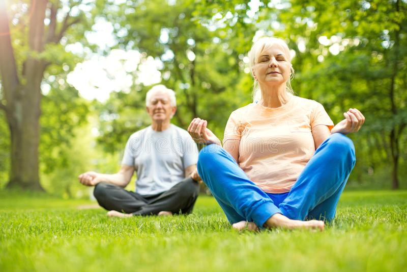 Senior Couple Exercising In Park. Smiling happy elderly seniors couple stock photo