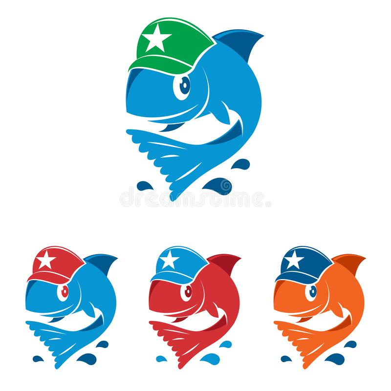 Smiling Happy Fish Star Hat Fishing Cartoon Mascot royalty free illustration