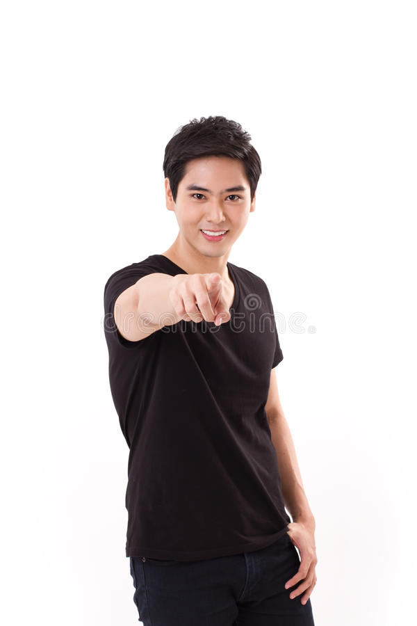 Smiling, happy, friendly man pointing at you stock images