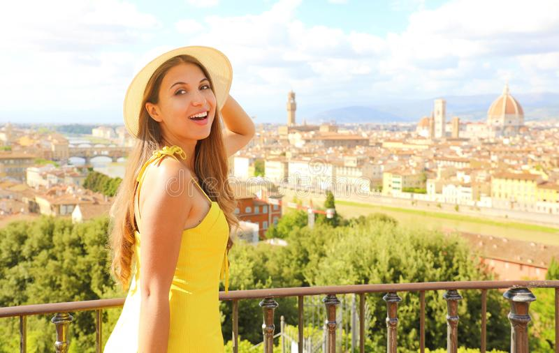 Smiling happy tourist girl in Florence, Italy. Portrait of young woman visiting Tuscany beauty in Italy stock photography