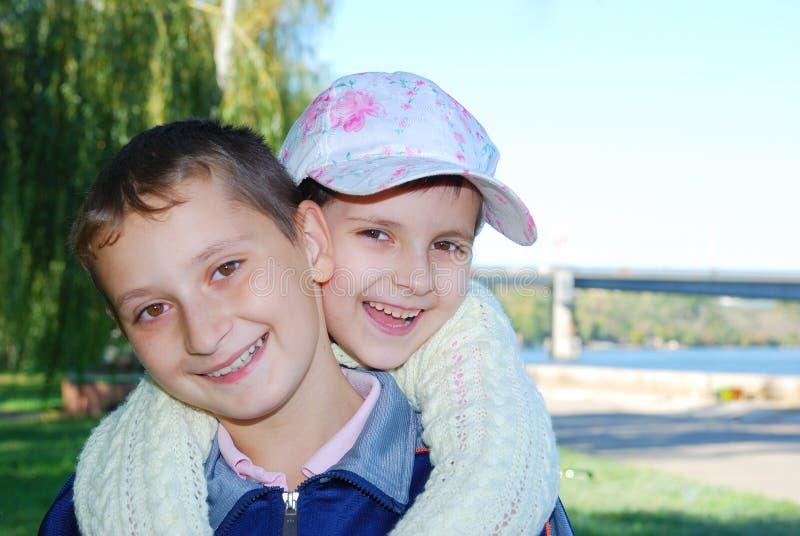 Smiling happy kids royalty free stock photo