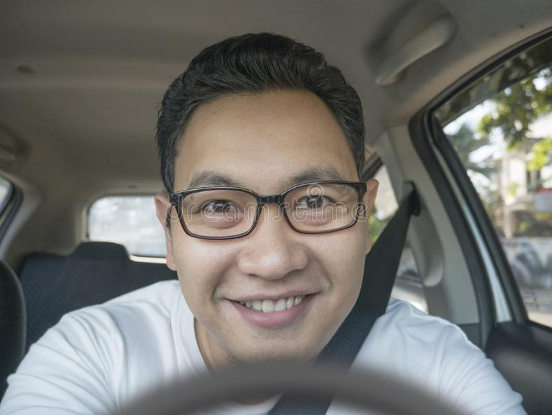 Smiling Happy Male Driver royalty free stock photo