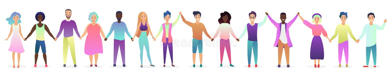 Smiling and happy male and female people holding hands. Human friendship concept. vector illustration