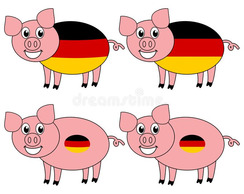 A smiling and happy pig raised in Germany stock illustration
