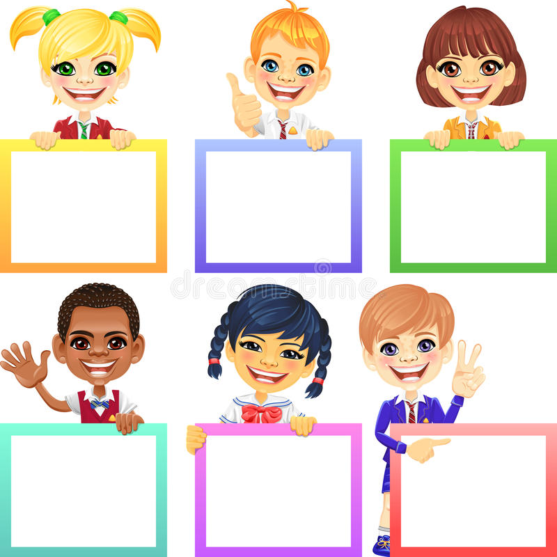 Vector happy smile kids with banners royalty free stock images