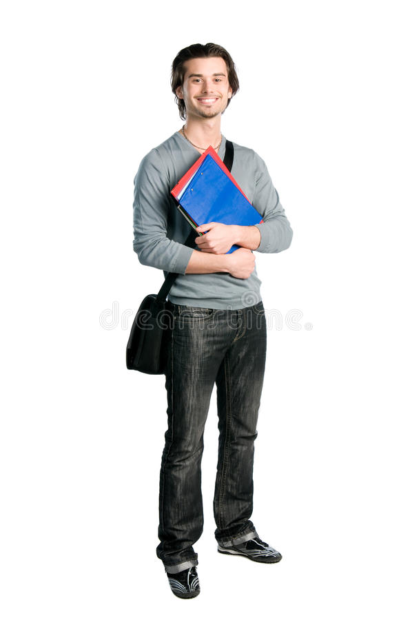 Download Smiling Happy Student Standing With Notes Stock Image - Image: 14184683