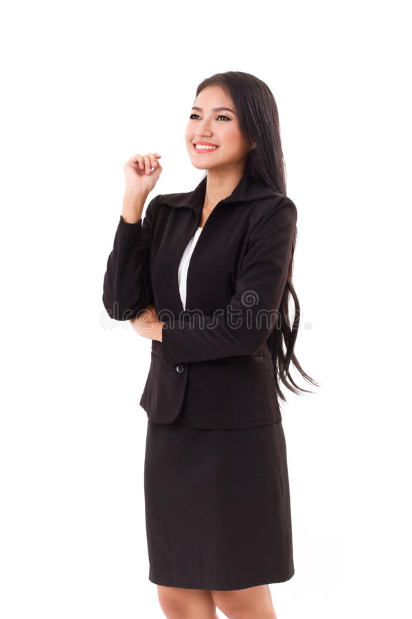 Smiling happy woman business executive looking up. Smiling happy woman business executive thinking and looking up stock photography