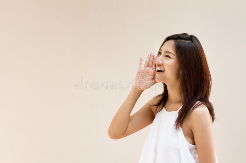 Smiling happy woman, speak, shout, announce, communicate stock image