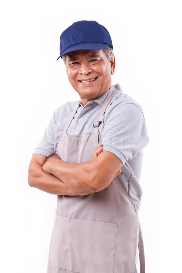 Smiling happy worker. Arm crossing royalty free stock image