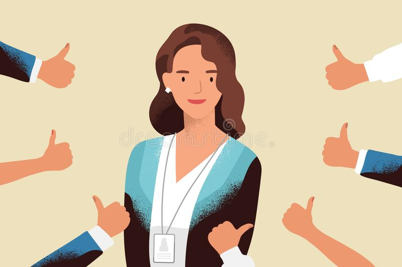 Smiling happy young woman surrounded by hands with thumbs up. Concept of public approval, acknowledgment, recognition. Acceptance and appreciation. Colorful vector illustration
