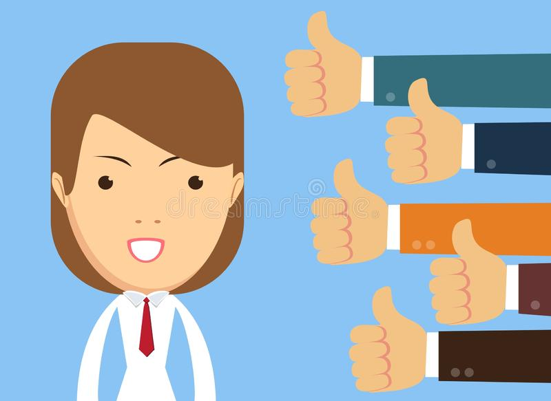 Smiling happy young woman surrounded by hands with thumbs up. stock illustration