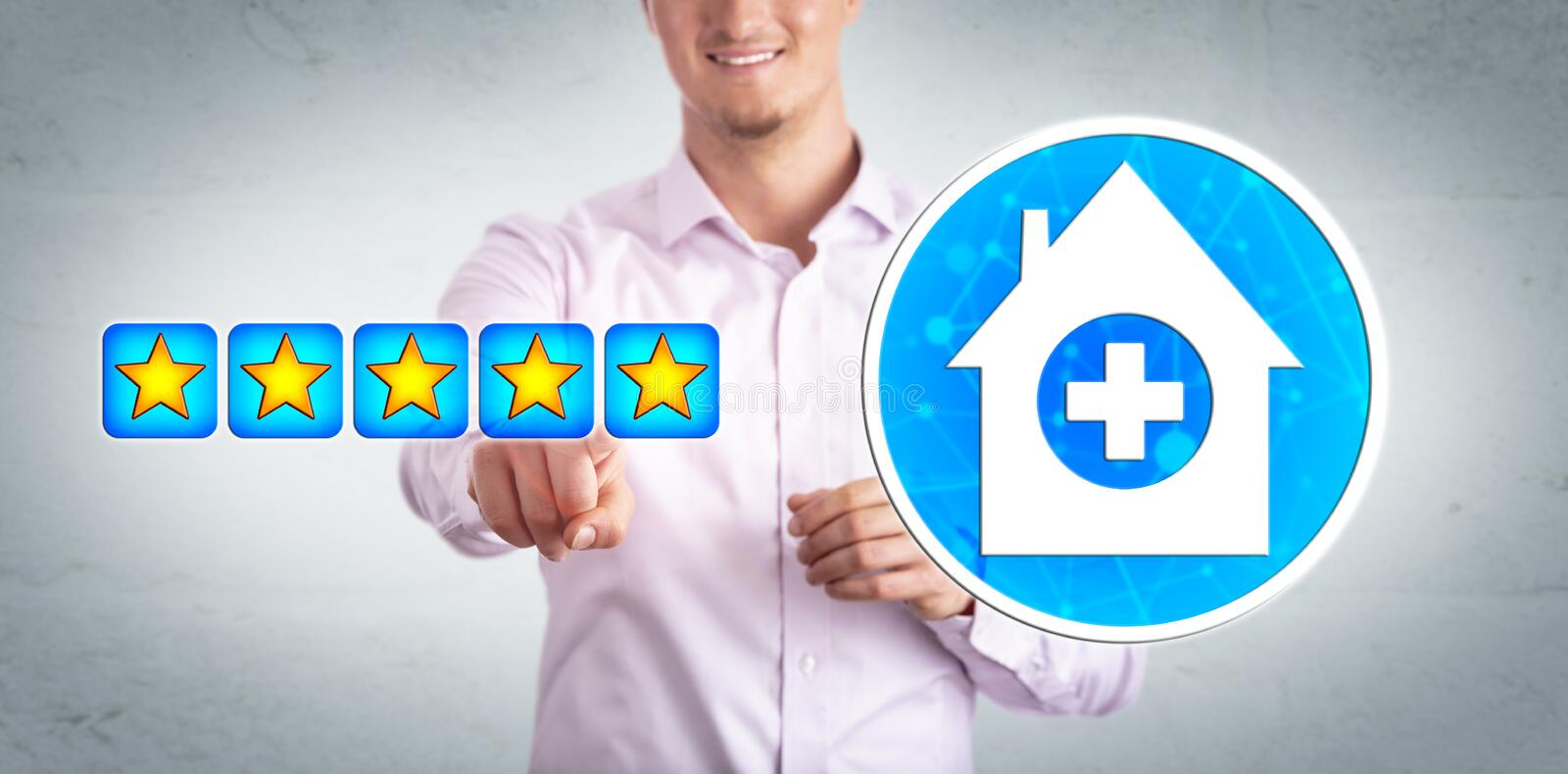 Smiling Healthcare Consumer Giving Star Rating royalty free stock photography