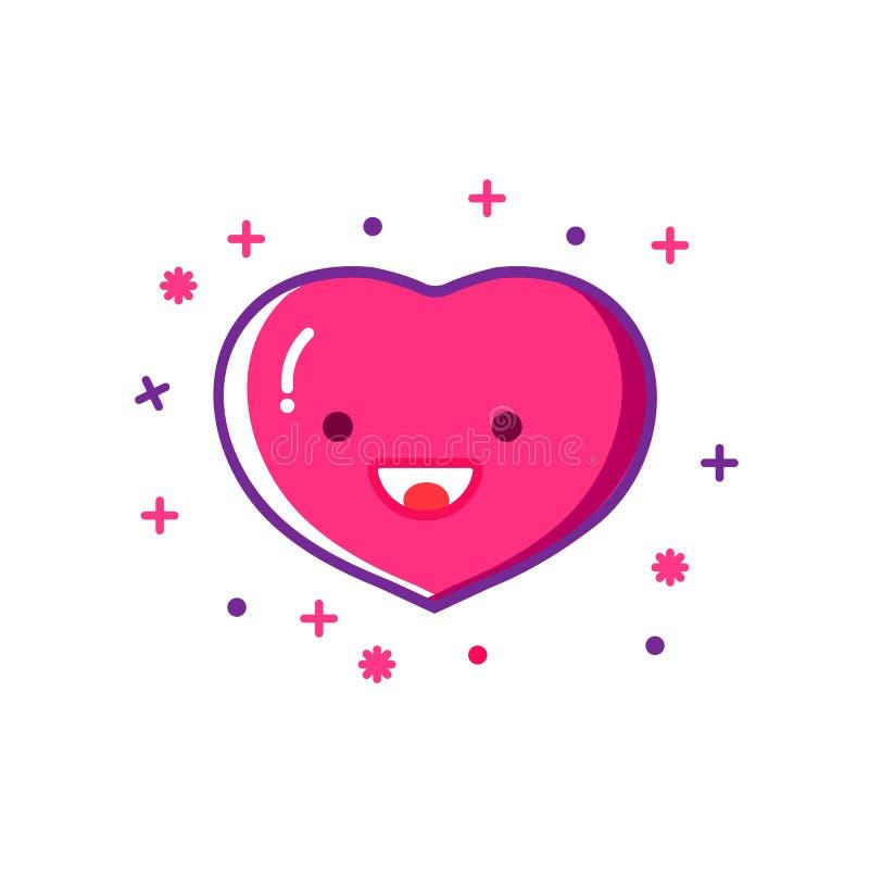 Smiling heart outline icon, modern flat design style. Love thin line symbol, vector illustration royalty free illustration