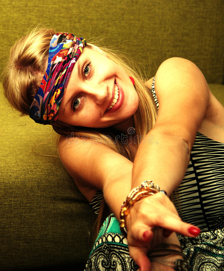 Smiling hippie stock image