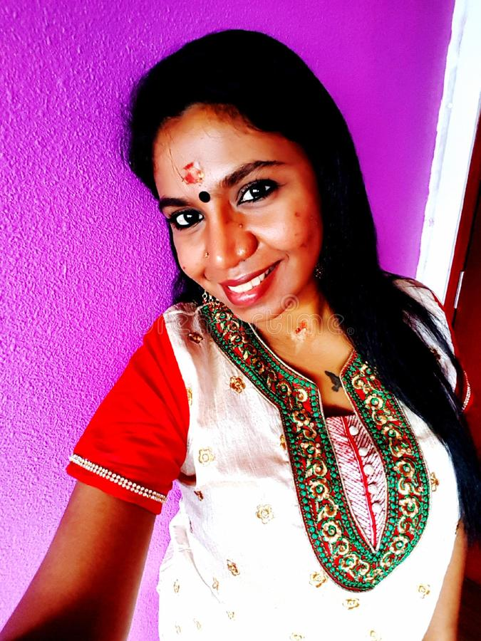 Smiling Indian tradition woman stock photo