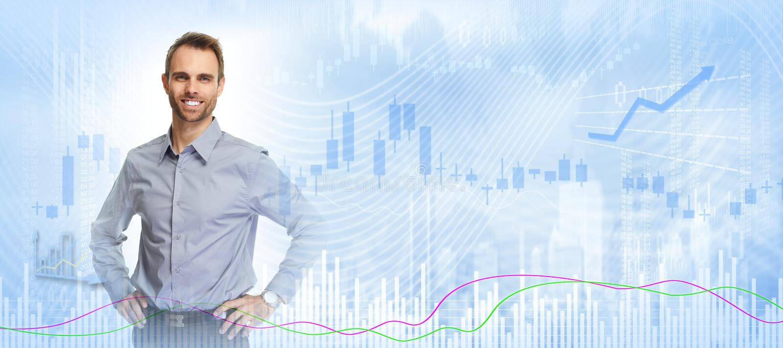 Smiling investor man. stock photography