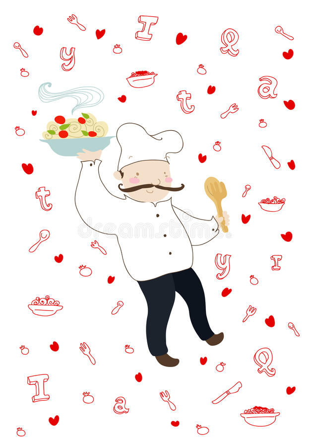 Download Smiling italian cook stock vector. Illustration of cooking - 19541909