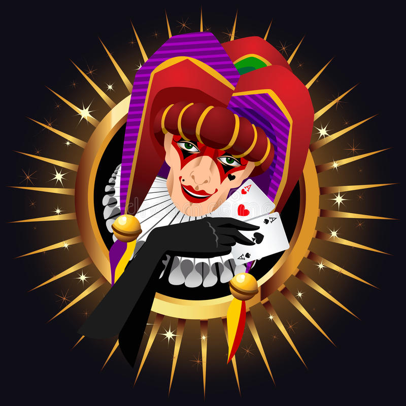 Smiling joker head with aces. Cards in his hand on shiny background vector illustration