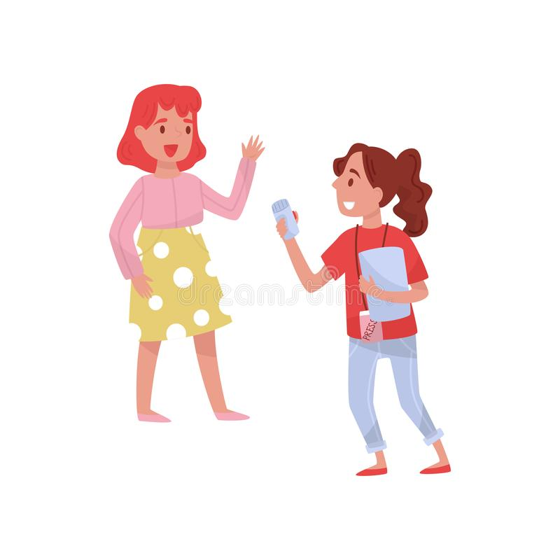Smiling journalist with sound recorder making interview with young woman. Professional at work. Flat vector design stock illustration