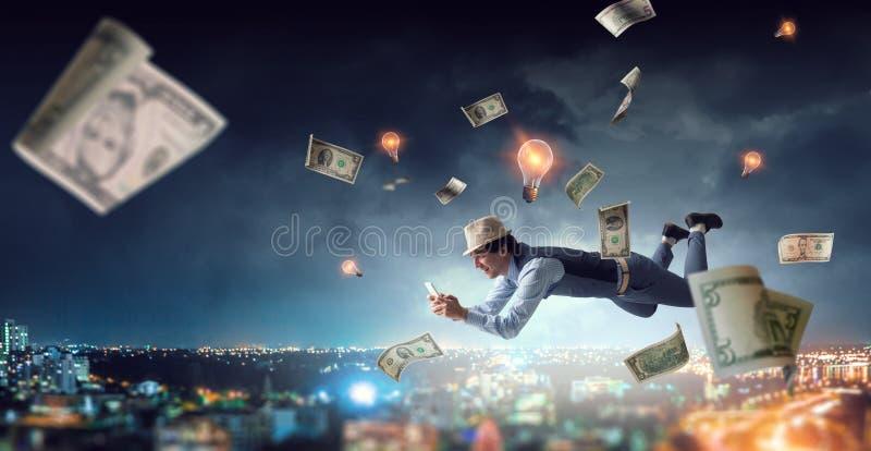 Smiling Joyful levitating young man royalty free stock photos