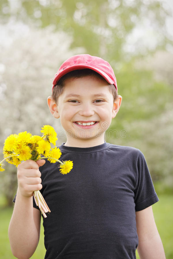 Download Smiling Kid With Dandelions Stock Image - Image: 24708565