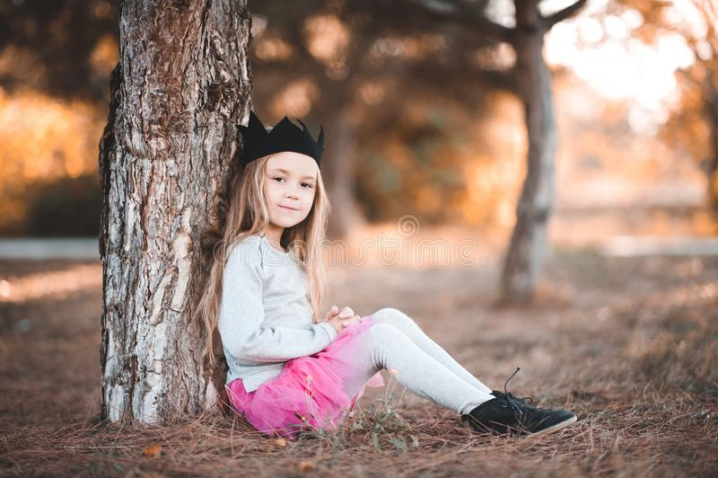 Stylish child outdoors royalty free stock images