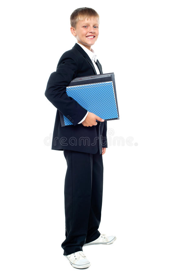 Download Smiling Kid Holding Files, Young Business Boy Stock Photo - Image: 27260962