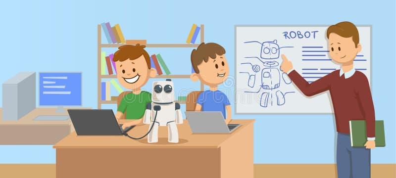 Smiling kids in classroom studying robotics, science. Teacher explaining robot mechanics to the students in front of a. Happy kids in classroom studying robotics stock illustration