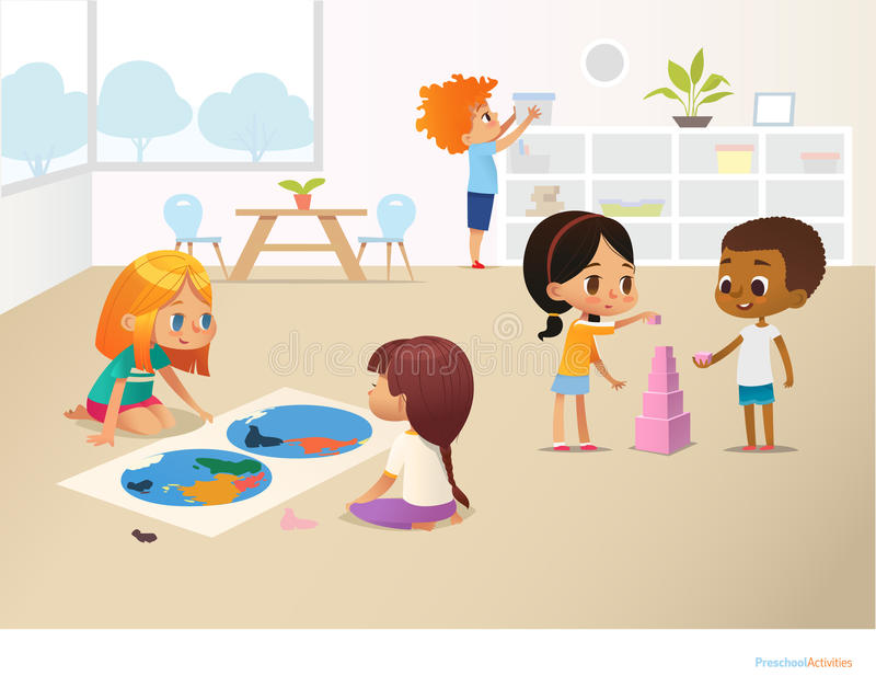 Smiling kids doing different tasks at primary school. Boys and girls building pyramid out of pink blocks and viewing vector illustration
