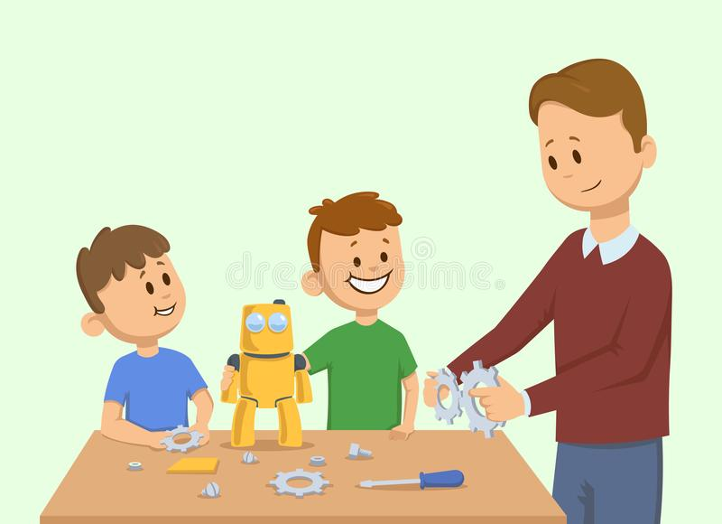 Smiling kids and a man making yellow toy robot together. Man assembling a robot for the children. Cartoon vector stock illustration