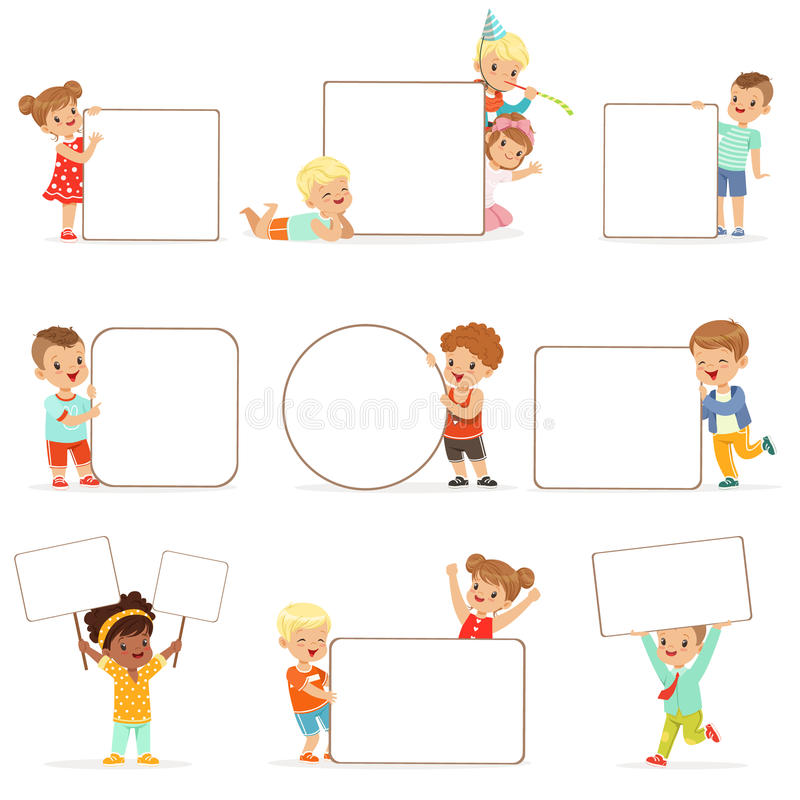 Smiling kids standing with white blank boards set. Happy little boys and girls in casual clothes holding empty posters vector illustration