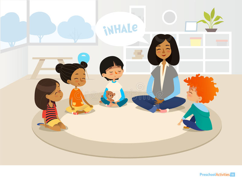 Smiling kindergarten teacher and children sitting in circle and meditating. Preschool activities and early childhood education con stock illustration
