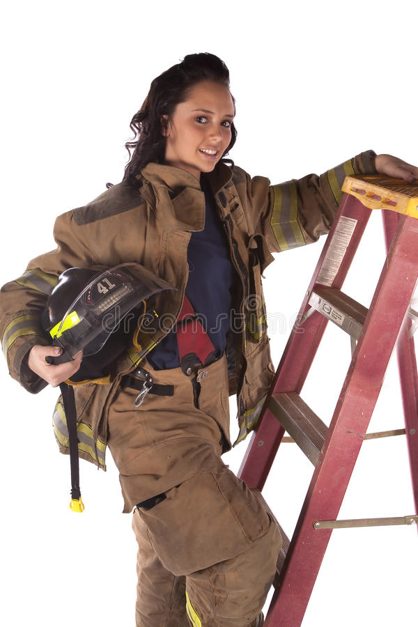 Download Smiling ladder stock image. Image of firefighter, looking - 12434051