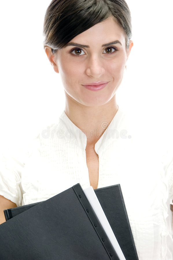 Smiling lady with files stock images