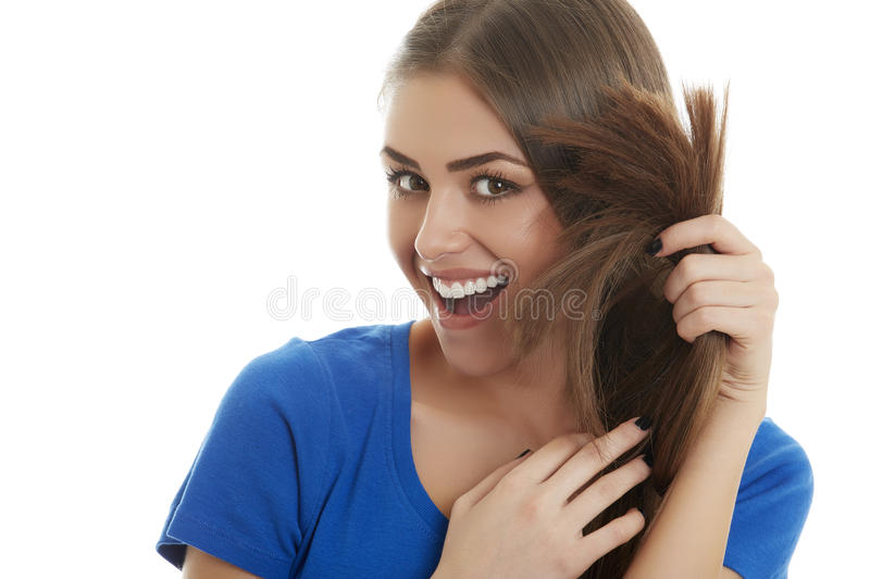 Smiling lady with healthy long hair royalty free stock photography