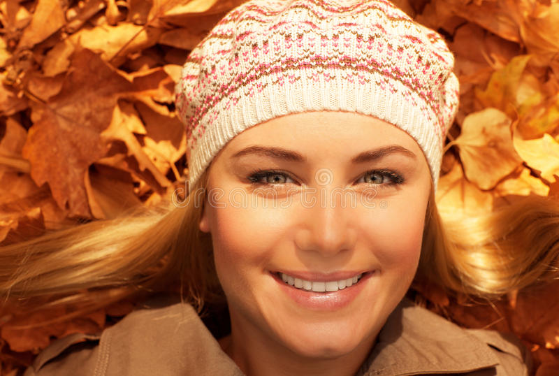 Download Smiling Lady Lay On The Ground Stock Image - Image: 27713283