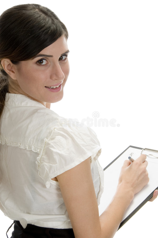 Download Smiling Lady With Pen And Paper In Writing Pad Stock Image - Image: 6547249