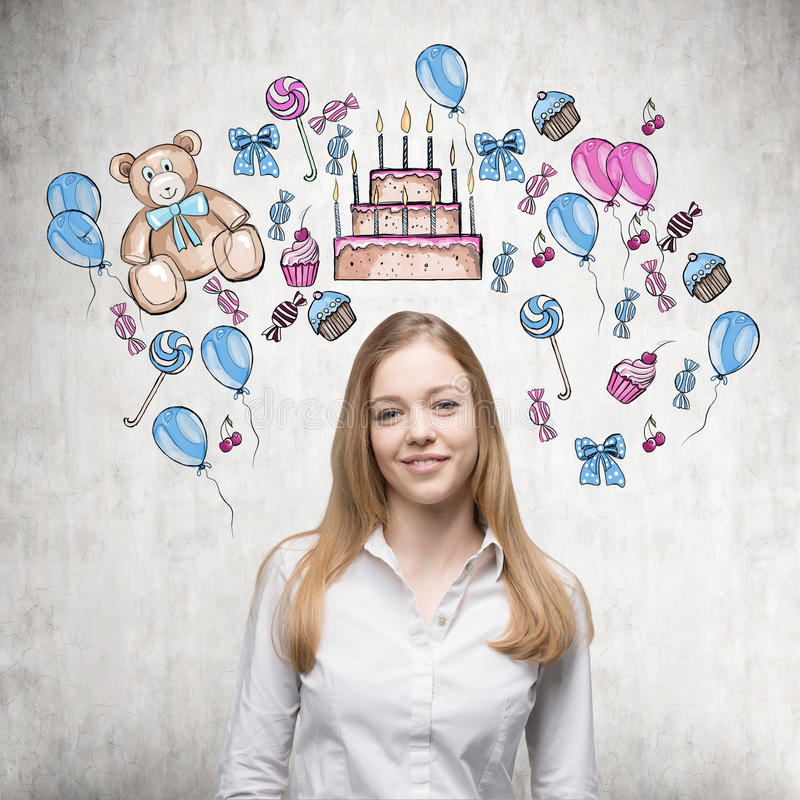 Smiling lady is waiting for her birthday. royalty free stock photos