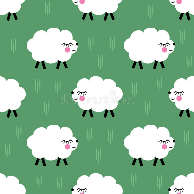 Smiling lambs seamless pattern background. Vector baby sheep illustration for kids holidays. royalty free illustration