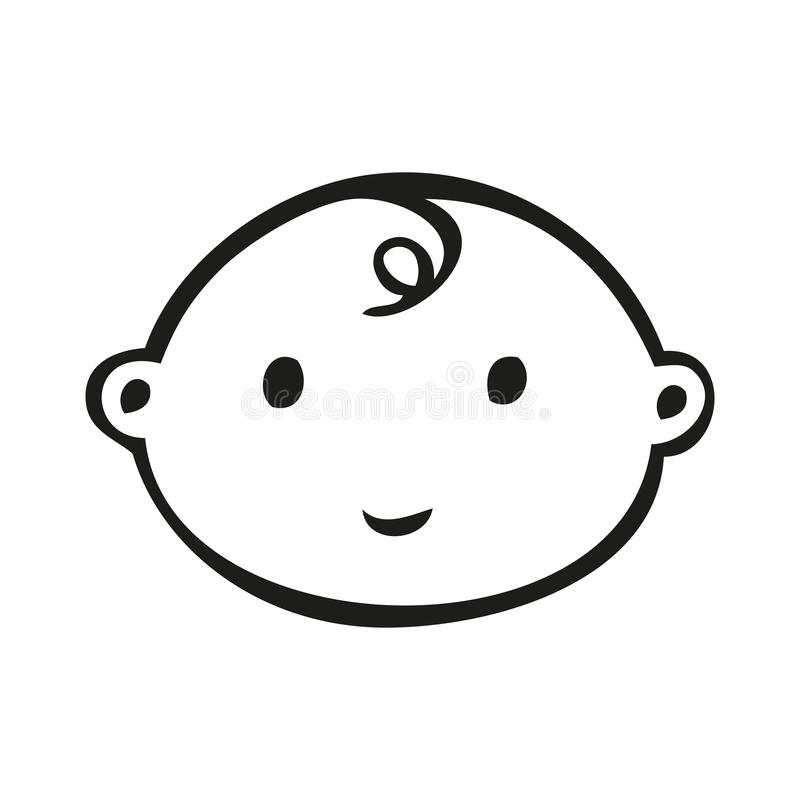 Smiling line art baby face with downward curl vector illustration