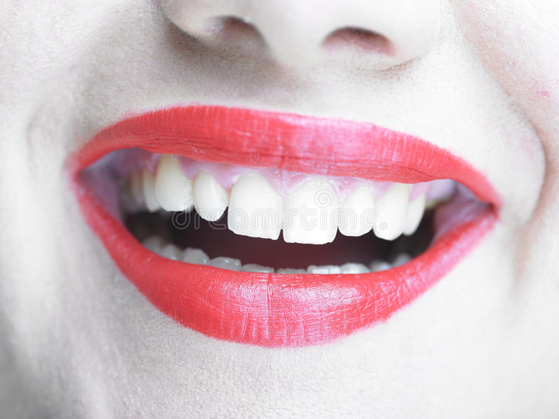 Smiling Lips with glamorous makeup, Smile stock image
