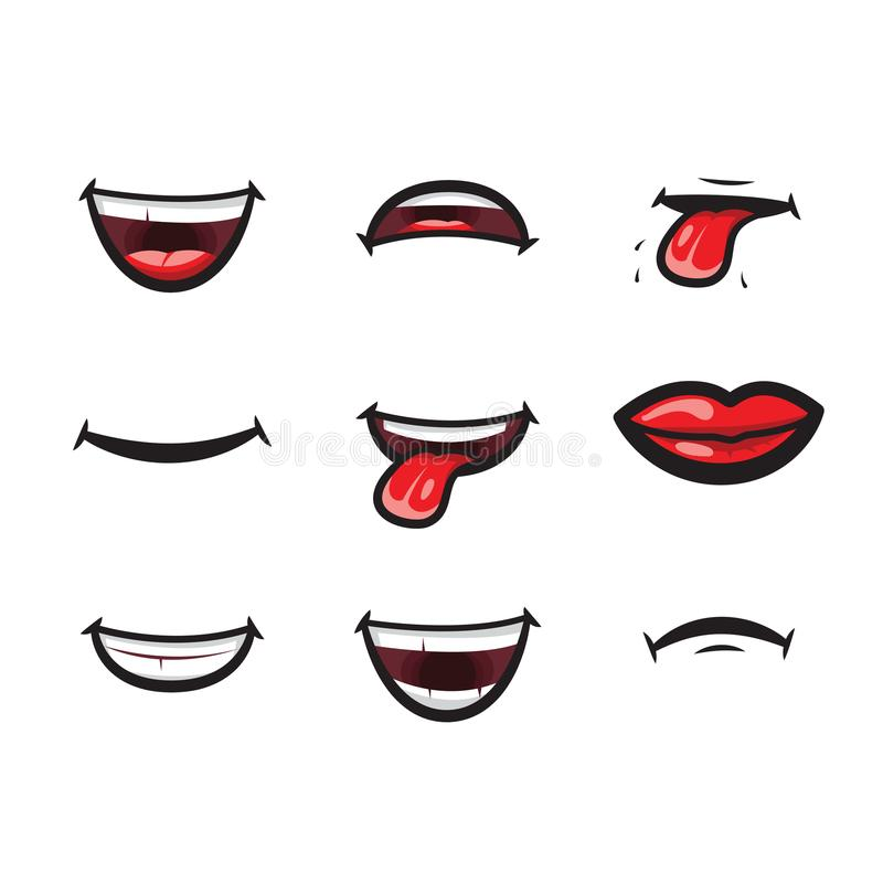 Smiling lips, mouth with tongue, white toothed smile and sad expression mouth and lips vector icon. Lips and mouth. Expressing different emotions, funny and sad stock illustration