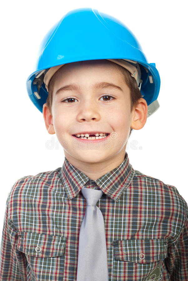 Smiling little architect with missing teeth stock photos