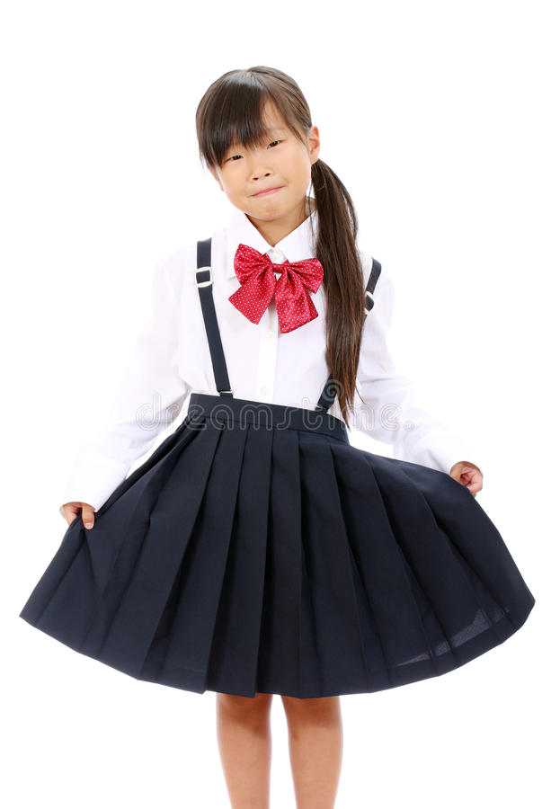 Smiling Little Asian Schoolgirl Royalty Free Stock Images