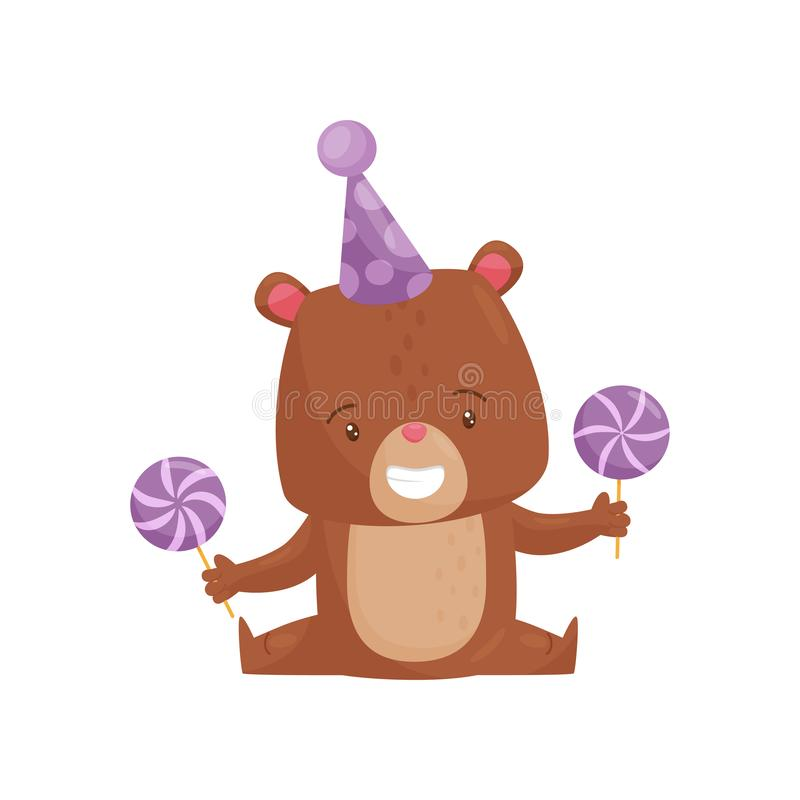 Smiling little bear in party hat, holding sweet lollipops in paws. Cute humanized animal. Flat vector icon stock illustration