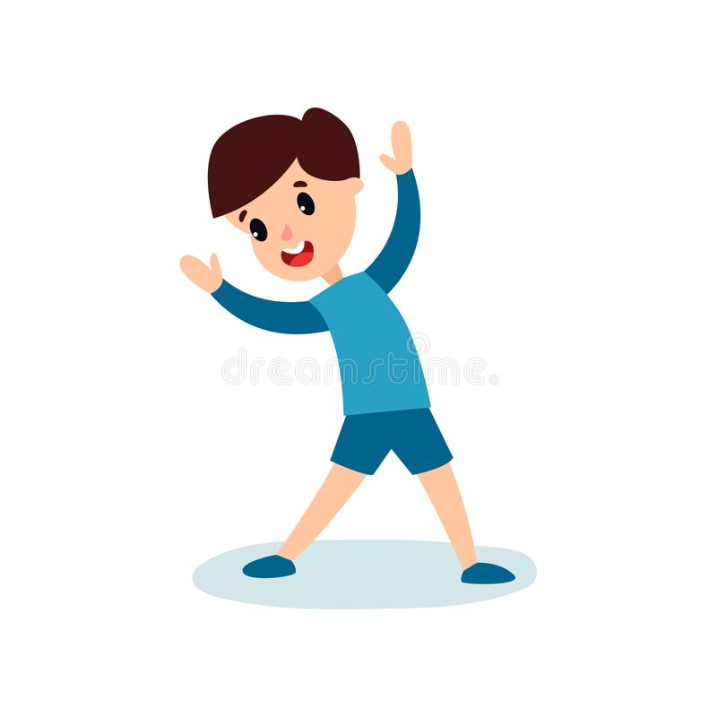 Smiling little boy character doing sport exercise, kids physical activity cartoon vector Illustration. Isolated on a white background royalty free illustration